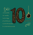 floral card with number ten and pocket watch vector image vector image