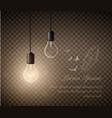 glowing light bulbs set hanging lights on a vector image vector image