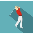 Golf player in a red shirt icon flat style vector image vector image