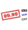 grunge 9999 scratched rectangle watermarks vector image vector image