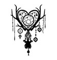 hand drawn dreamcatcher silhouette with feathers vector image vector image