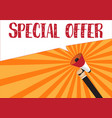 hand holding megaphone to speech - special offer vector image vector image