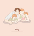 happy couple with kids husband and wife with son vector image