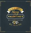 happy valentines day vintage retro golden badge vector image