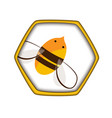 honey comb icon with bee carving style vector image vector image