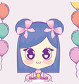 kawaii girl with balloons helium frame vector image