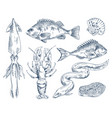 monochrome icon set for seafood restaurant poster vector image vector image
