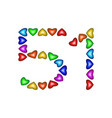 number 51 fifty one of colorful hearts on white vector image vector image