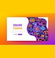 online cinema neon landing page vector image vector image