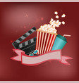 poster for advertising cinema or movie on a red vector image vector image