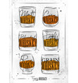 poster types whiskey dirty paper vector image