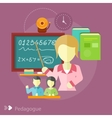 Pretty teacher with a pointer vector image vector image