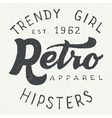 Retro apparel label typographic design