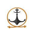rope and anchor sea emblem vector image vector image