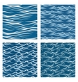 seamless blue waves pattern set vector image