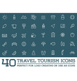 Set of Travel Tourism and Holiday Elements Icons vector image vector image