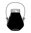 silhouette small mason jar with wire handle vector image vector image