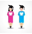 student design with pencil and wear graduation cap vector image vector image