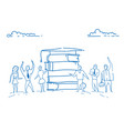 students standing book stack graduated cap vector image