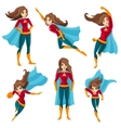 Superwoman Actions Icon Set vector image