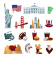 usa flat icons set vector image vector image