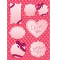 valentines labels on pink background vector image vector image