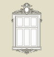 vintage decorated window with gypsum relief vector image vector image