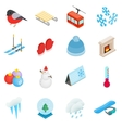 Winter elements icons set isometric 3d style vector image
