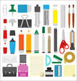 work draw sketch school stationary flat design set vector image