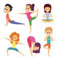 yoga for kids happy children make different vector image vector image
