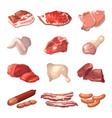 different of meat marble beef vector image