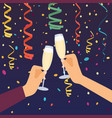 hands holding champagne glasses celebrating vector image