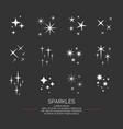 set sparkles star elements on the dark vector image