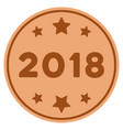 2018 year bronze coin vector image vector image