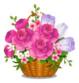 basket filled with cut spring or summer flowers vector image vector image