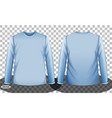 blue long sleeve t-shirt front and back side