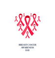 breast cancer awareness pink ribbon collection set vector image vector image