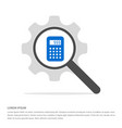calculator icon search glass with gear symbol vector image vector image
