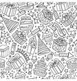 Cartoon hand-drawn doodles birthday theme seamless vector image vector image