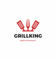 chef kitchen grill king spatula fork logo icon vector image vector image