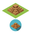 chichen itza icons in isometric style vector image