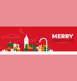 christmas and new year banner retro winter city vector image