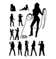 cowboy and cowgirl detail silhouettes vector image