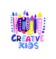 creative kids logo design colorful hand drawn vector image vector image