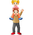 cute girl sits on the shoulders of his father vector image vector image