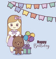 cute little doll happy birthday card vector image vector image