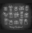 doodle sketch gift boxes on blackboard background vector image vector image