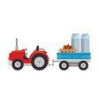 farm tractor with carriage transport milk and vector image vector image
