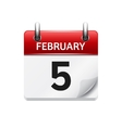 february 5 flat daily calendar icon date vector image vector image