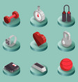 fitness color isometric icons vector image vector image
